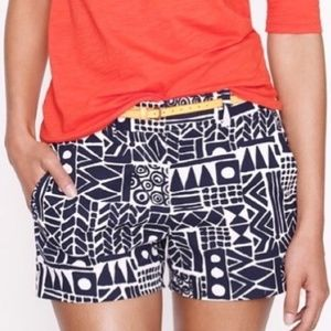 J. Crew • tribal  pattern blue  shorts 00